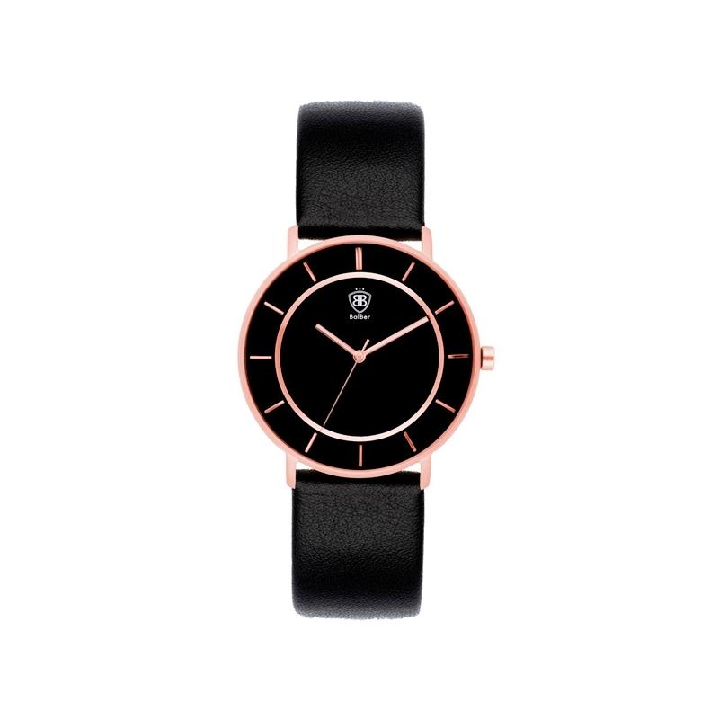 """Reloj Balber unisex """"Titanium"""" con caja de titanio dorado en oro rosa y esfera negra."""