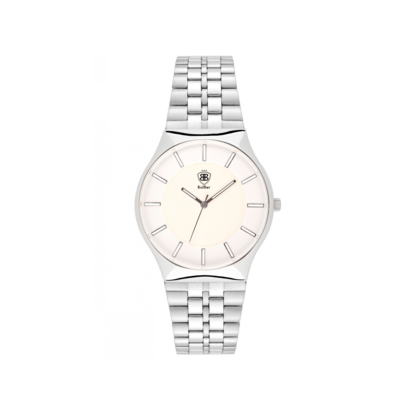 "Reloj Balber unisex ""Luminer"" en acero con esfera blanco, de estilo vintage."
