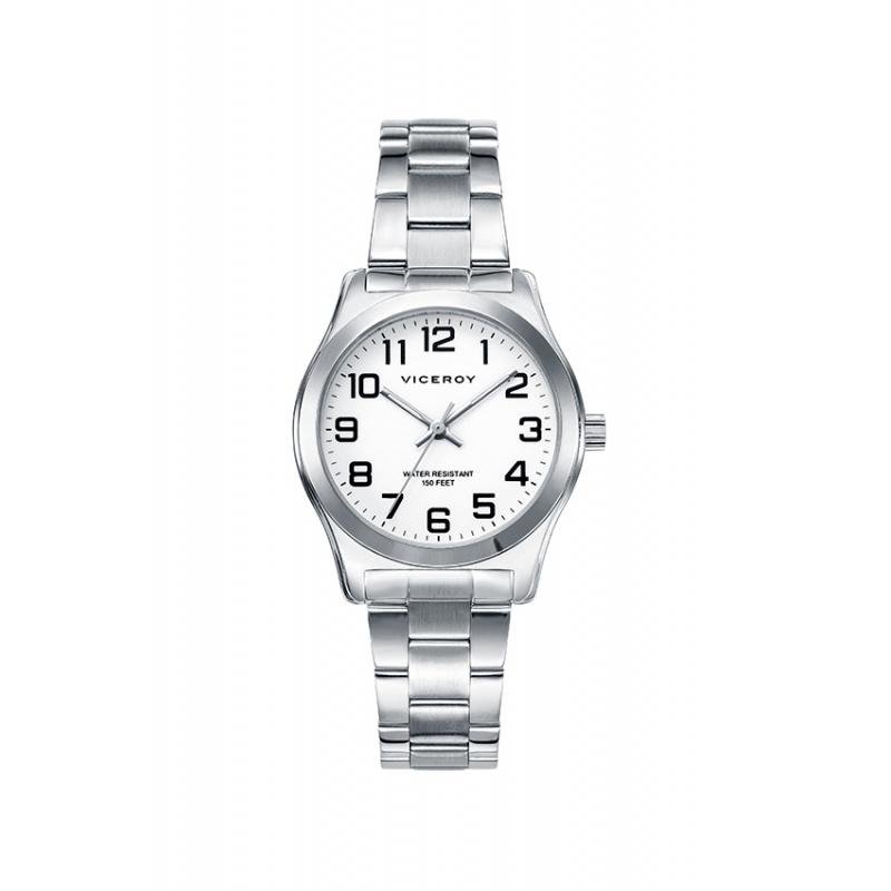 Reloj Viceroy para mujer de acero y esfera blanca, gama básica 40854-04.