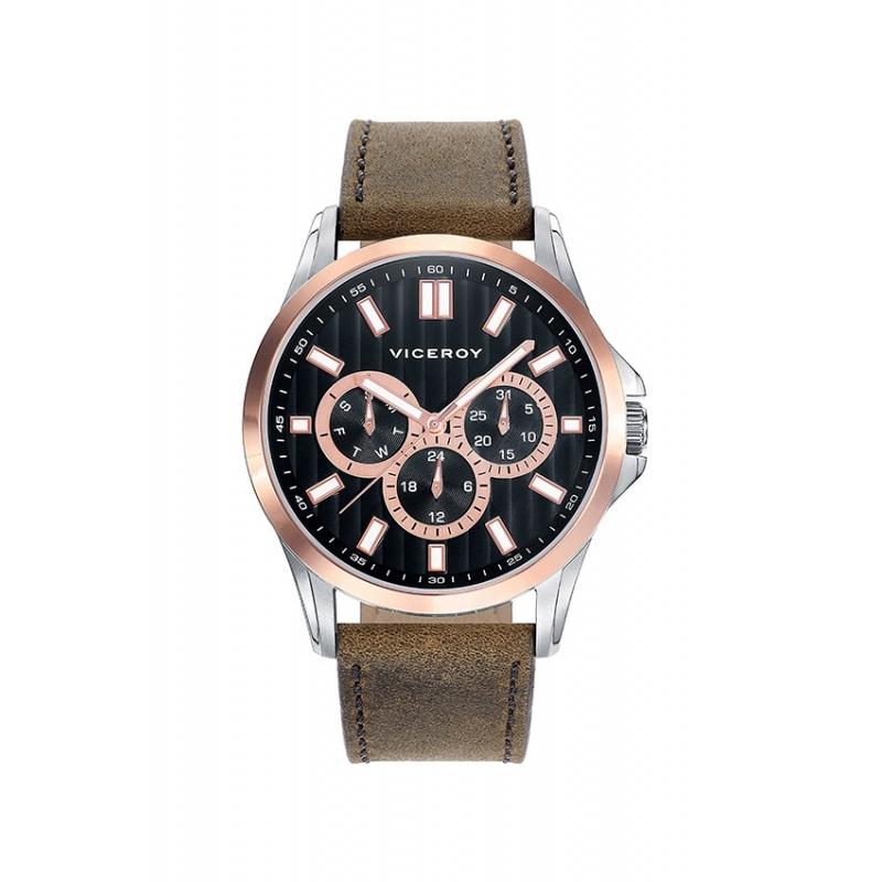 Reloj Viceroy de hombre multifunción con correa de piel marrón y esfera negra 42249-57.