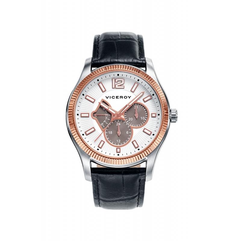 """Reloj Viceroy de hombre """"Magnum"""" multifunción con detalles dorados y correa negra 42253-05."""