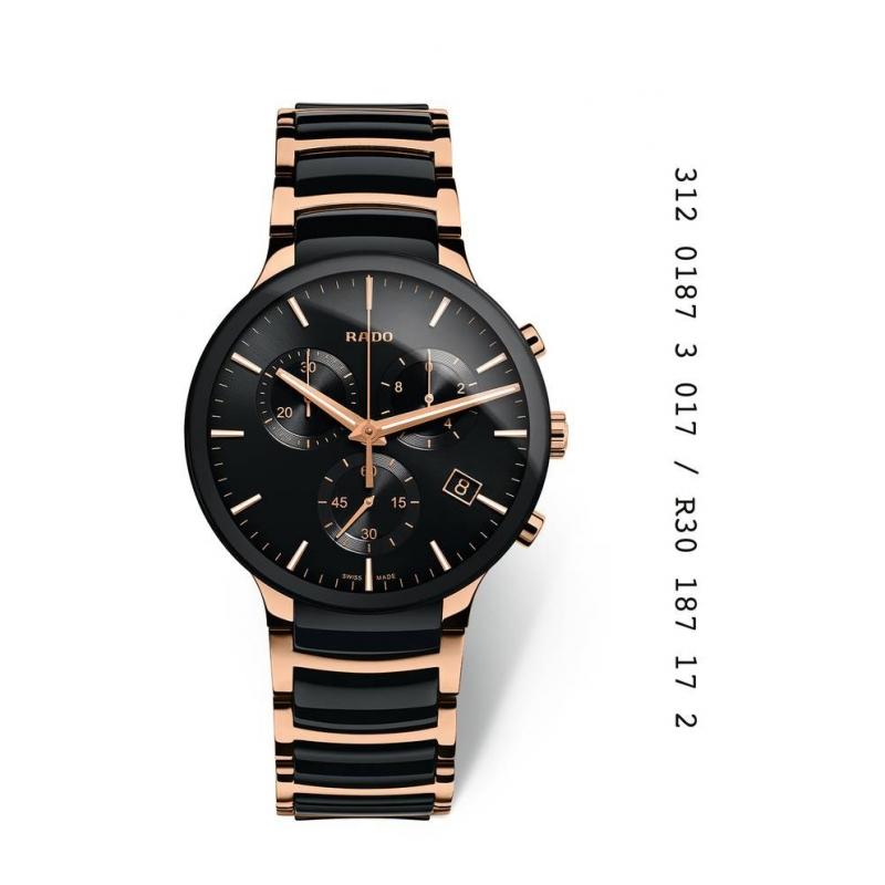 Reloj Rado Centrix para hombre con cronógrafo, en cerámica negra y acero dorado R30187172.