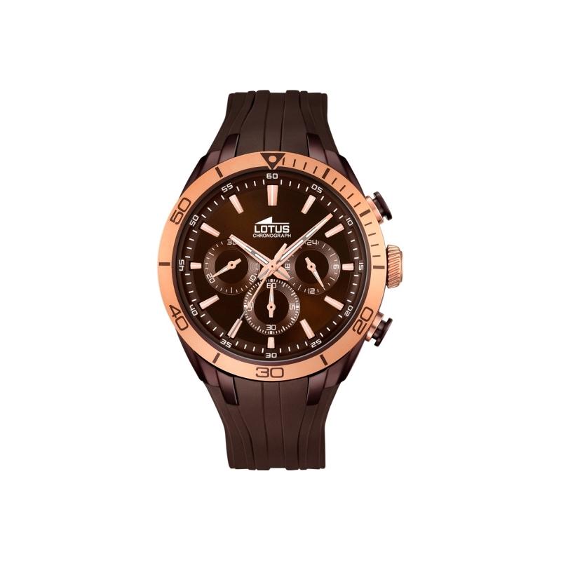 """Reloj Lotus de hombre """"Smart Casual"""" con cronógrafo en marrón y dorado en oro rosa 18194/1."""