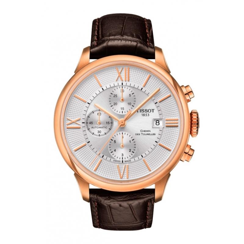 """Reloj Tissot automático """"Chemin des Tourelles"""" para hombre, dorado y cronógrafo T0994273603800."""