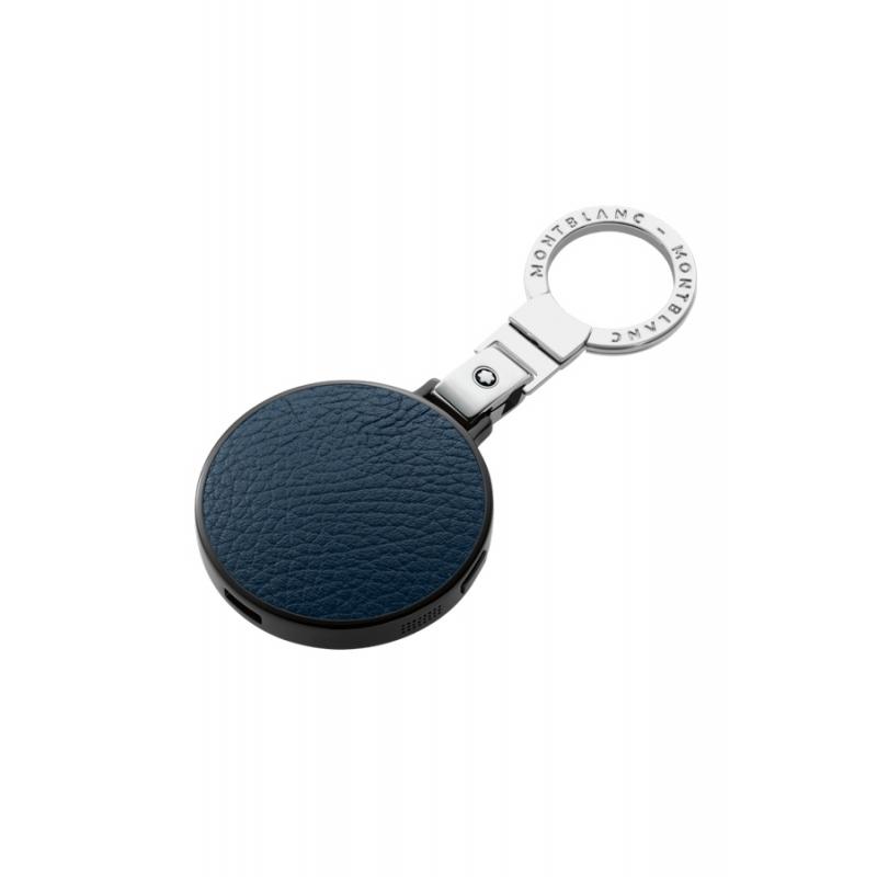 """Llavero Montblanc Meisterstück con """"e-Tag"""" (Bluetooth®) en piel azul y acero 114321."""