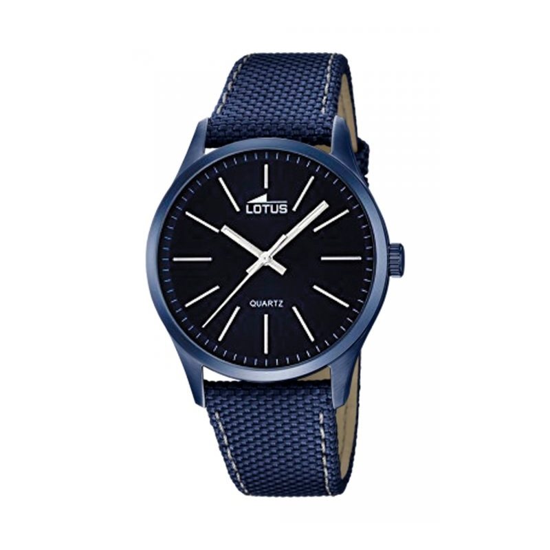 """Reloj Lotus para hombre en azul """"Smart Casual"""" con correa de tela y detalles plateados 18166/3."""