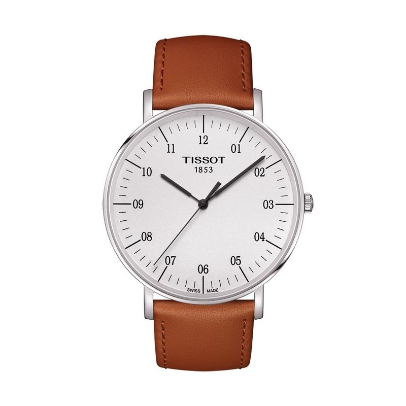 """Reloj Tissot de caballero """"Everytime Big"""" de estilo clásico, con correa marrón T1096101603700."""