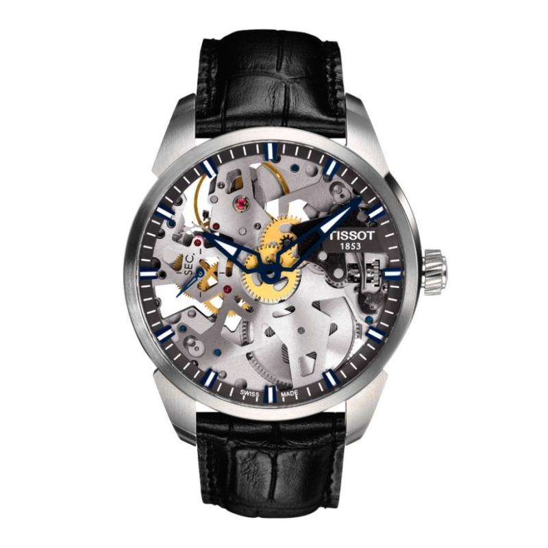 Reloj Tissot de cuerda tipo skeleton T-Complication, con maquinaria vista, para hombre T0704051641100.