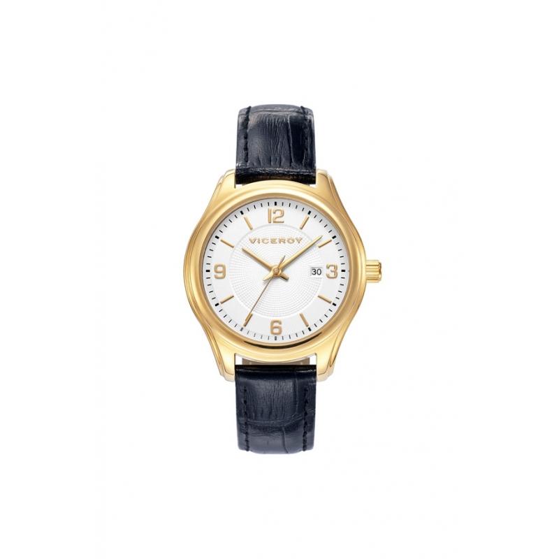 Reloj Viceroy de mujer de estilo clásico, caja dorada y correa de piel negra 40924-95.