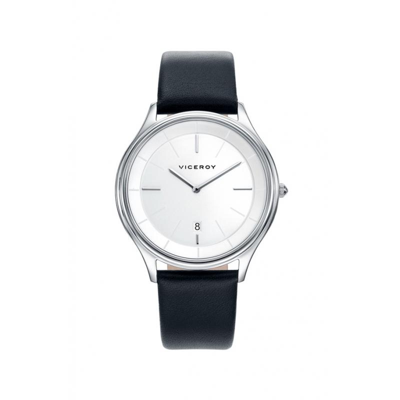 Reloj Viceroy para hombre de sencillo diseño, esfera plateada y correa de piel negra 471045-07.