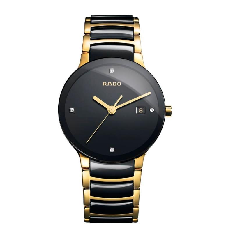 Reloj Rado Centrix para hombre, en cerámica negra y dorado, con diamantes en esfera R30929712.