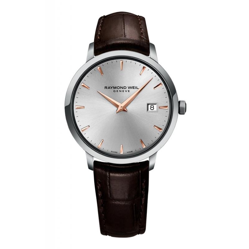 """Reloj Raymond Weil de hombre """"Toccata"""" de estilo clásico, con detalles dorados y correa piel 5488-SL5-65001."""