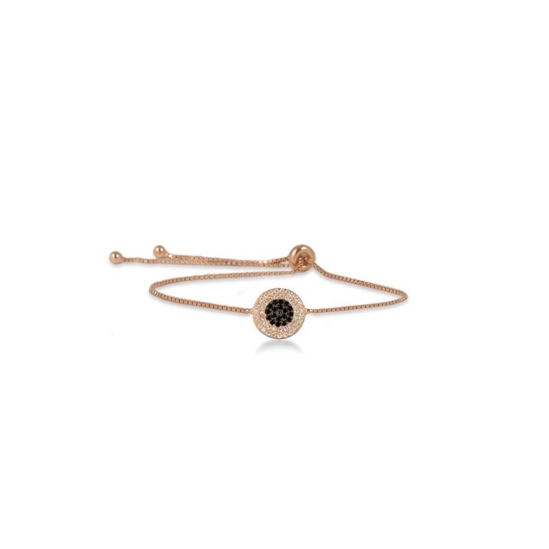 """Pulsera de plata chapada en oro rosa, y circonitas negras y blancas, """"Site"""" de Luxenter."""
