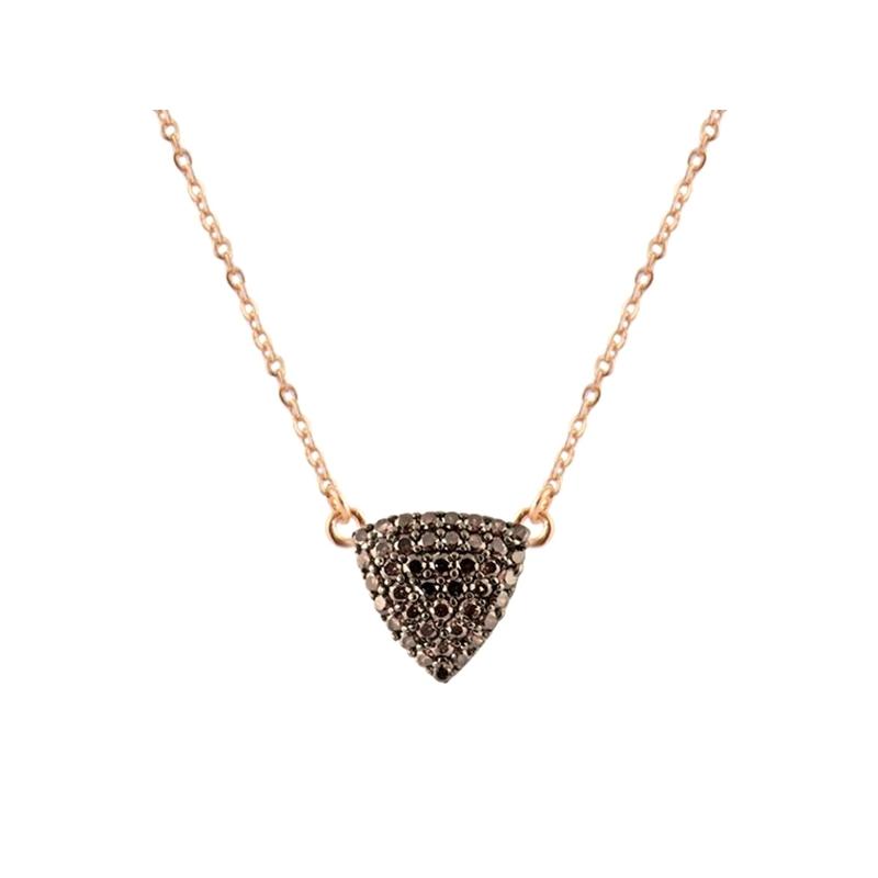 """Colgante triangular de plata dorada con circonitas marrones, """"Odma"""" de Luxenter (cadena incluida)."""