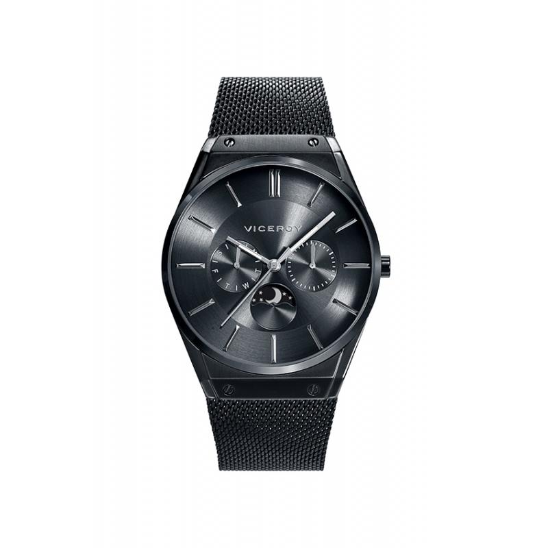 """Reloj Viceroy para hombre """"Air Collection"""" con fase lunar y malla, chapado totalmente en negro 42245-57."""