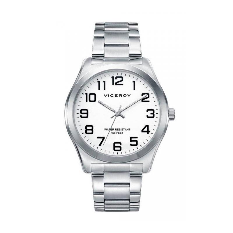 Reloj Viceroy de hombre en acero y esfera blanca, de gama básica 40513-04.