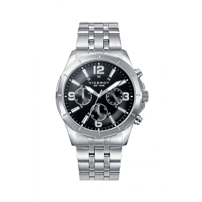 Reloj Viceroy de hombre con cronógrafo, de acero y esfera negra 40521-55.