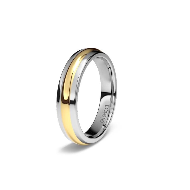 """Alianza de boda en titanio y oro amarillo de 18 quilates, """"Orion"""" de Eleka."""