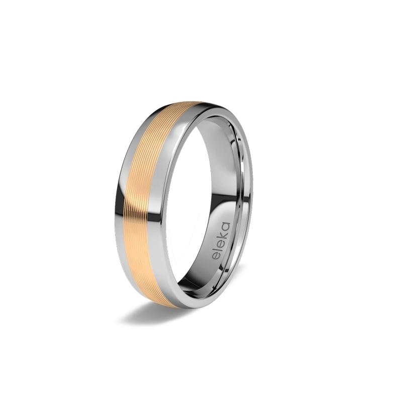 """Alianza de bodas en titanio y oro amarillo de 18 quilates, """"Pegaso"""" de Eleka, en 5 mm."""