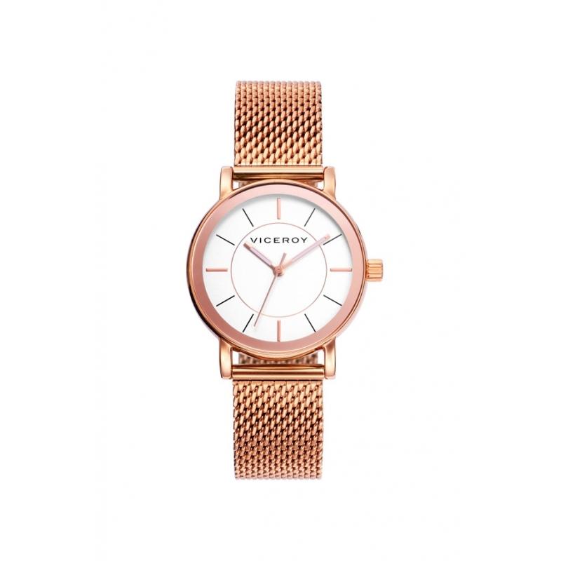 Reloj Viceroy de mujer en acero dorado en oro rosado, con malla milanesa 40898-97.