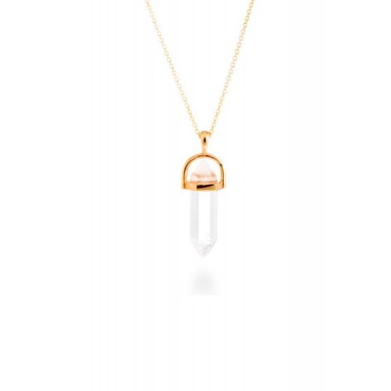 """Colgante de plata dorada y cuarzo blanco """"Crest"""" de Luxenter (cadena incluida)."""