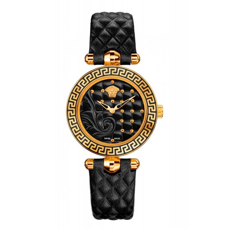 Reloj Versace Micro Vanitas para mujer, dorado en oro amarillo y correa negra VQM01 0015.