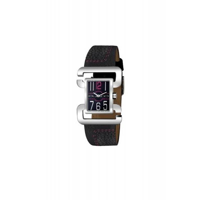 Correa de piel para reloj Custo CU008602, en color negro.