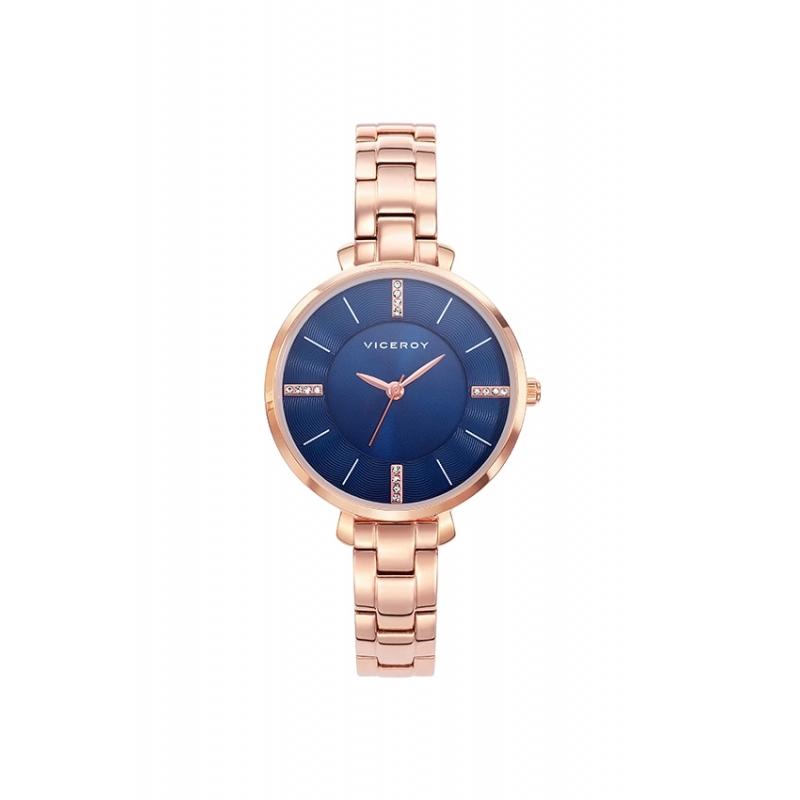 """Reloj Viceroy para mujer """"Femme"""" dorado en oro rosé, esfera azul y circonitas 471062-37."""