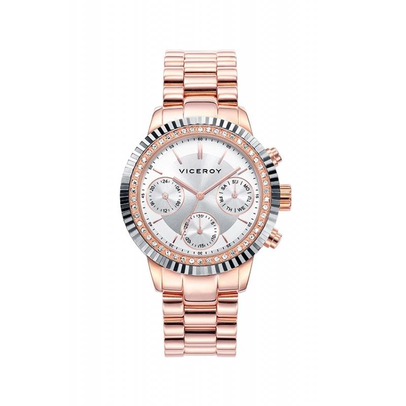 """Reloj Viceroy para mujer """"Femme"""" dorado en oro rosa, circonitas y multifunción 471068-17."""