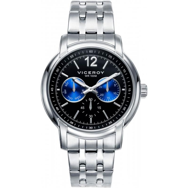 Reloj Viceroy para hombre en acero multifunción con esfera negra y azul 40995-55.