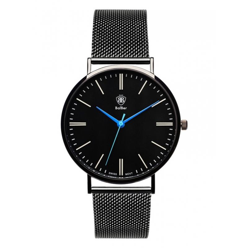Reloj Balber unisex en acero chapado en negro con malla milanesa.