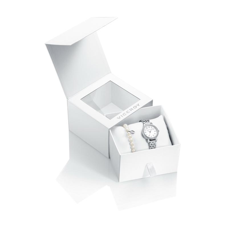 """Reloj Viceroy para niña de comunión """"Sweet"""" en acero, pulsera de regalo y caja especial 42266-05."""