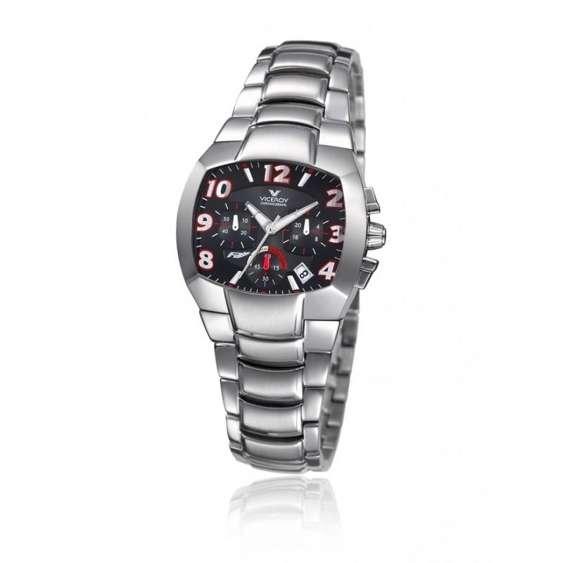 """Reloj Viceroy """"Fernando Alonso"""" para cadete o mujer, en acero, cronógrafo y esfera negra 432016-45."""
