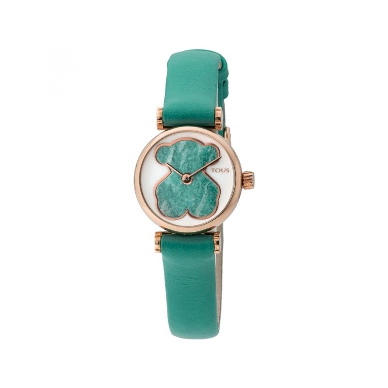Reloj Tous Camille de mujer, con caja dorada, oso verde y correa de piel 700350055.