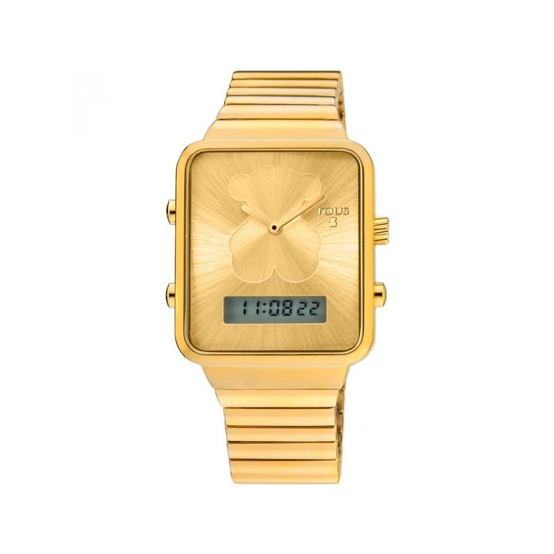Reloj Tous I-Bear digital para mujer, dorado en oro amarillo con caja rectangular 700350125.