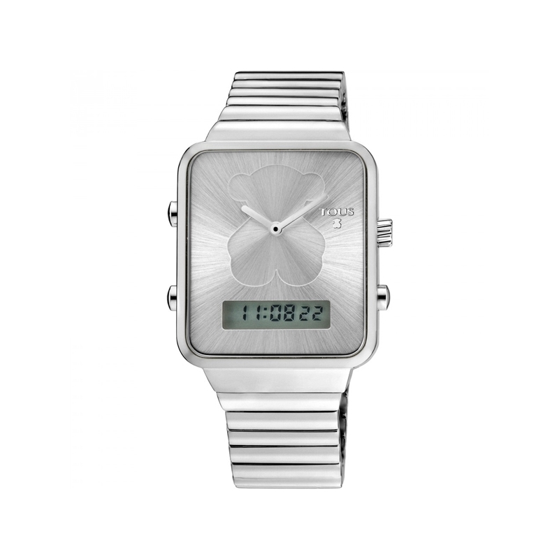 Reloj Tous I-Bear digital de mujer, en acero y caja rectangular 700350120.