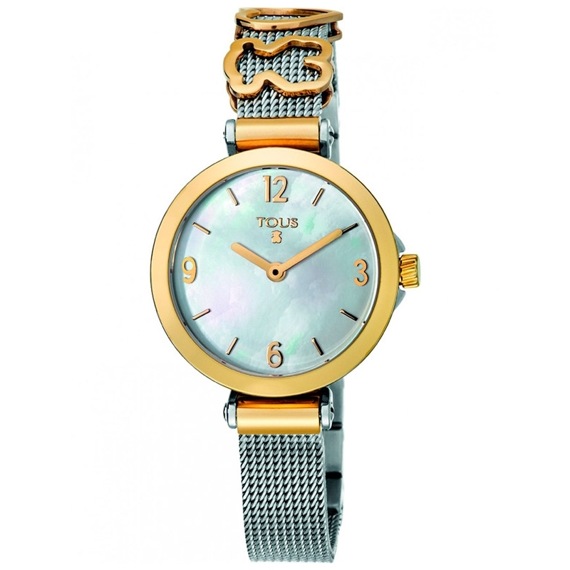 """Reloj Tous """"Icon Charms"""" en acero con detalles dorados en oro amarillo y esfera de nácar 700350165."""