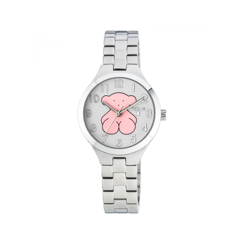 """Reloj Tous """"Muffin"""" para niña en acero con oso de Tous rosa en esfera, 700350040."""