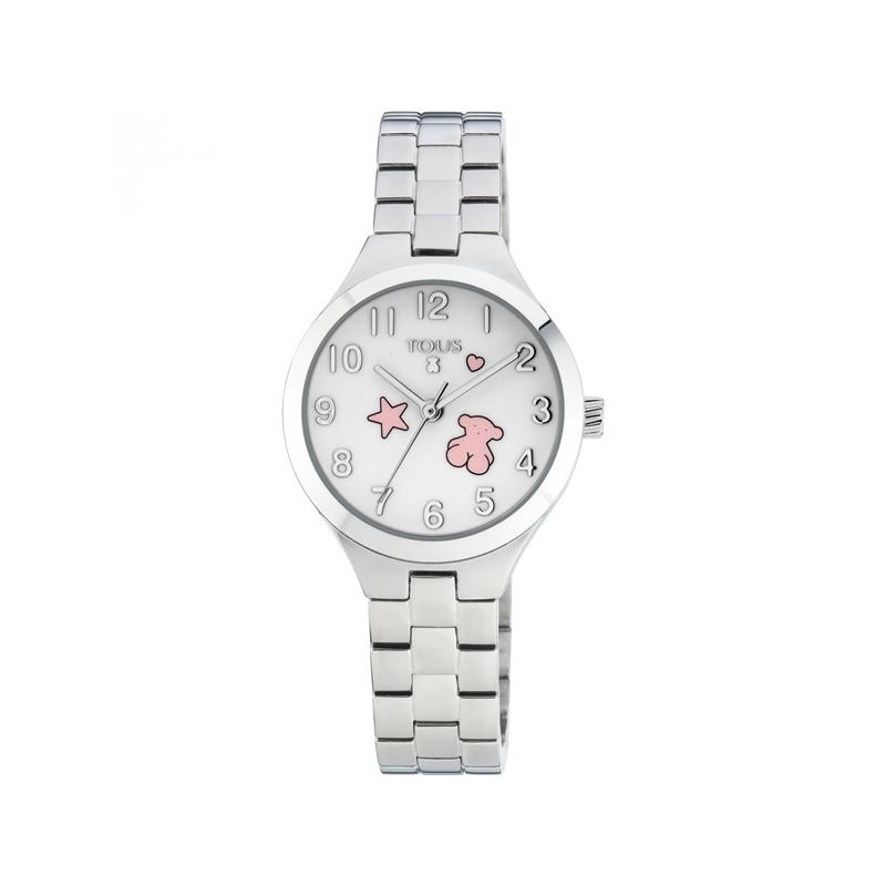 """Reloj Tous de niña """"Muffin"""" en acero con iconos en esfera de color rosa 700350045."""