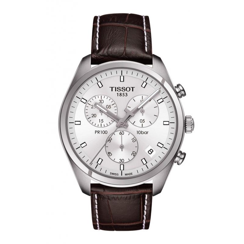 Reloj Tissot PR 100 para hombre con caja acero, cronógrafo y correa de piel T1014171603100.