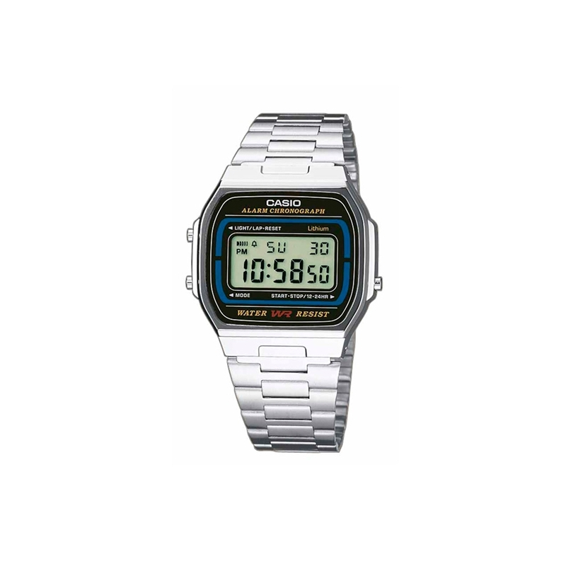 """Reloj Casio tipo retro """"Classic Collection"""" plateado A164WA-1VES."""