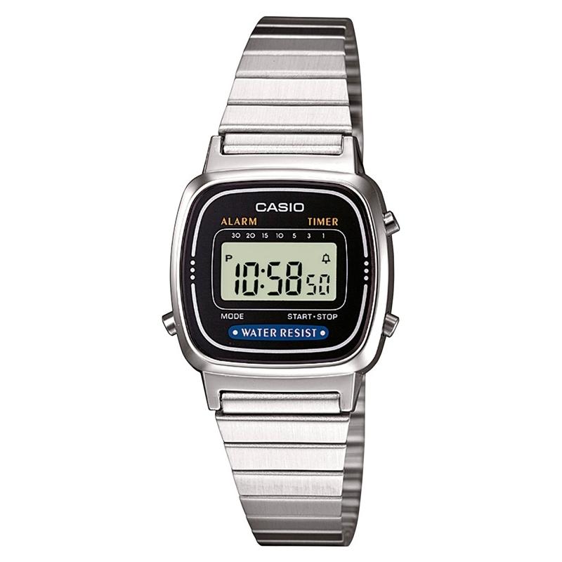 """Reloj Casio de mujer digital """"Mini"""" en acero con esfera negra, tipo retro LA670WEA-1EF."""