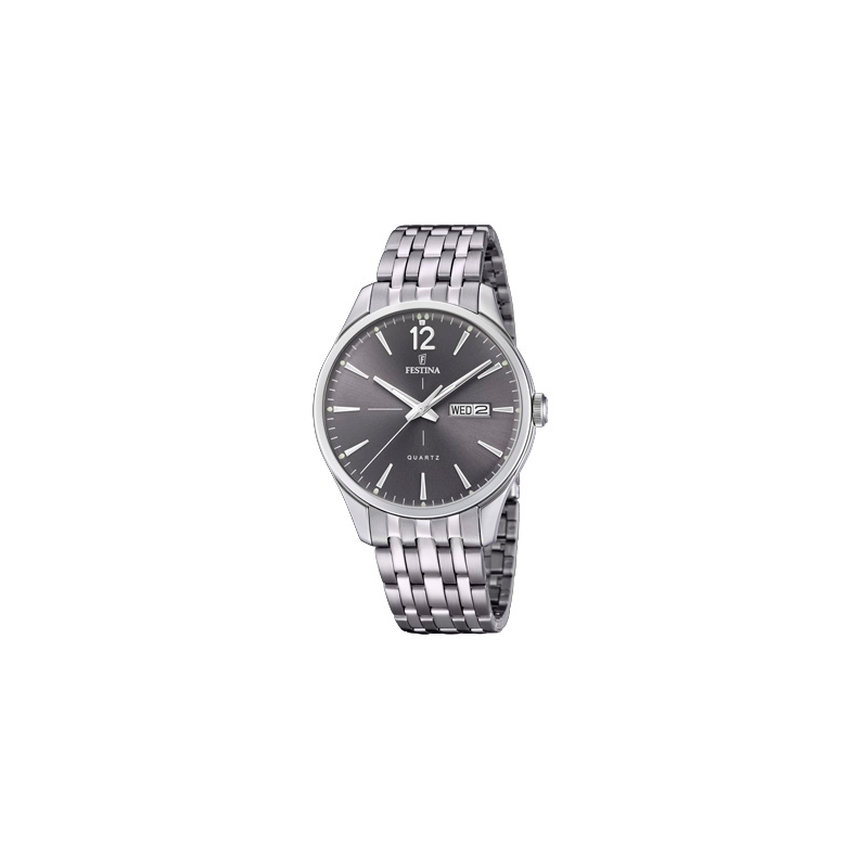 """Reloj Festina para caballero """"Klassik"""" en acero con esfera gris oscuro F20204/2."""