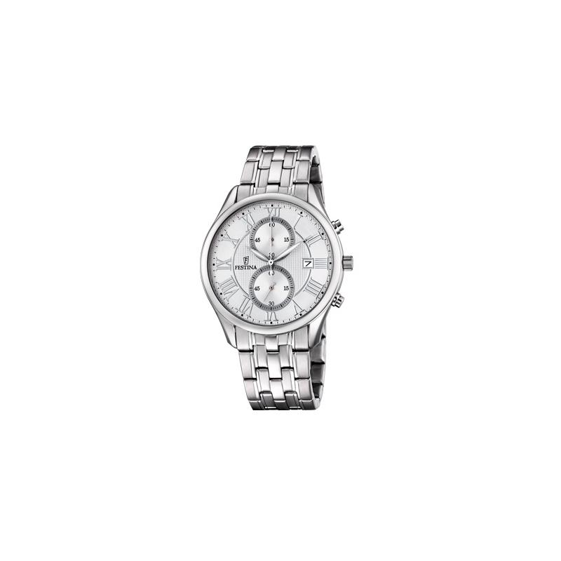 """Reloj Festina de hombre """"Sport"""" en acero con cronógrafo, con cierto toque retro F6854/1."""