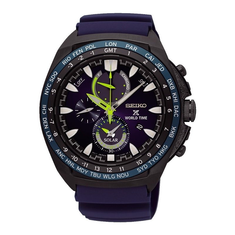 "Reloj Seiko Prospex Solar tipo ""Mar"", para hombre, con World Time, cronógrafo y alarma SSC571P1."