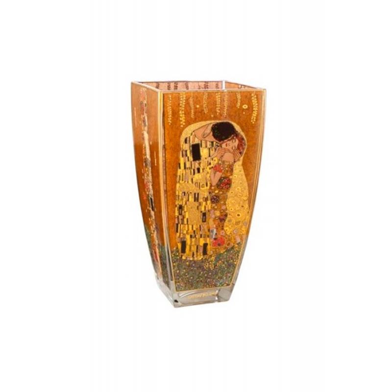 """Jarrón de cristal Gustav Klimt """"El Beso"""", de Goebel, con 30 cms de alto."""