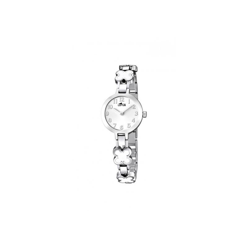 Reloj Lotus para niñas en acero con motivos en flor esmaltados en blancos 15828/1.