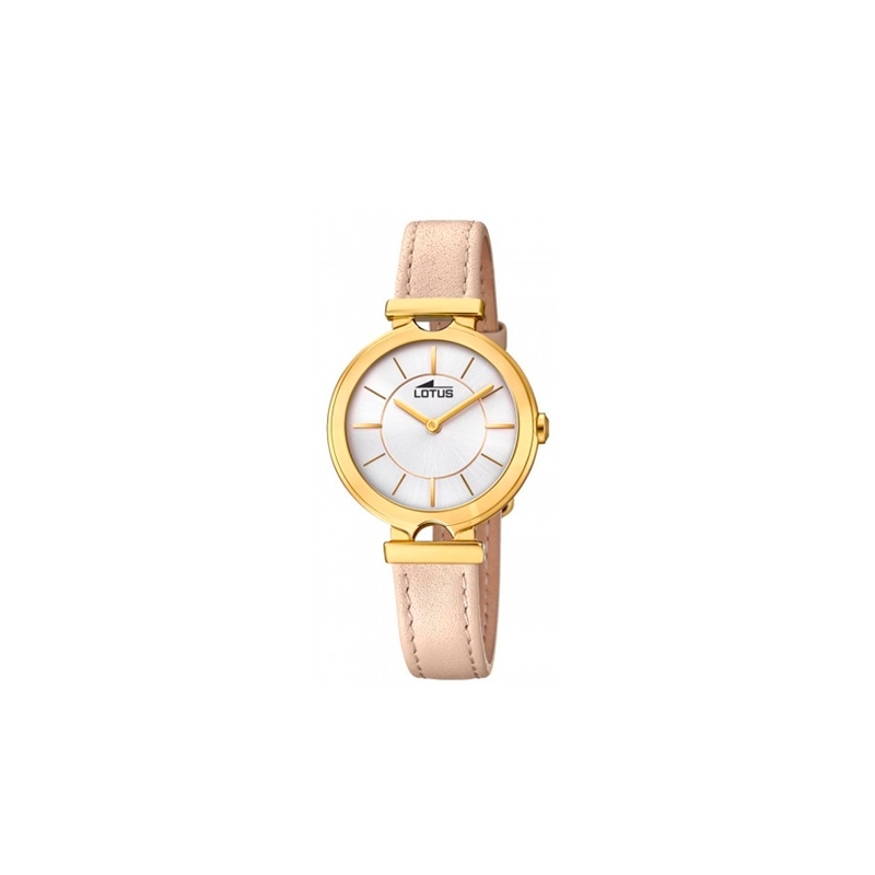 """Reloj Lotus de mujer """"Bliss"""" dorado en oro amarillo y corre de piel beige 18452/1."""