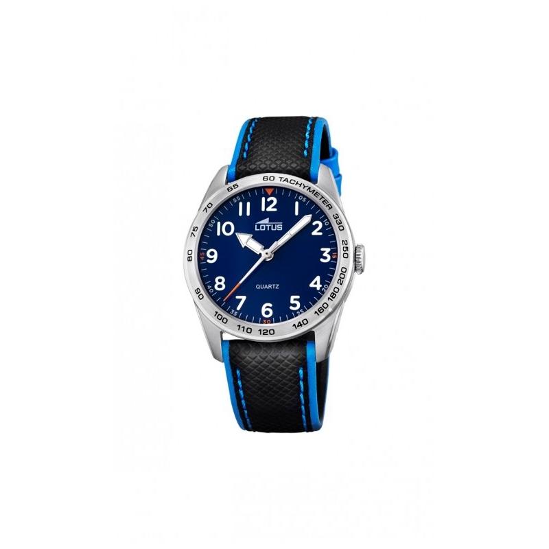 Reloj Lotus para niño con esfera azul y correa de piel negra, perfecto para comunión 18276/2.