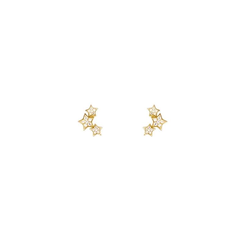 Pendientes de plata dorada en oro amarillo con forma de estrellas, de Luxenter.